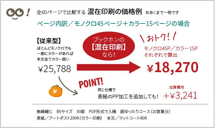 必要ページ分だけのカラー料金+残りのページのモノクロ料金の価格例