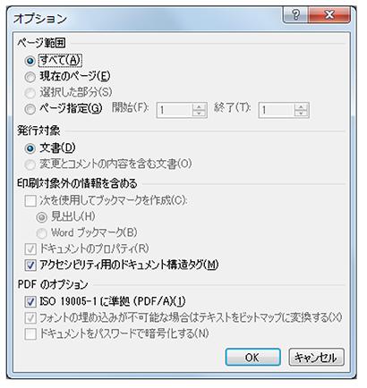 PDFのオプションについて