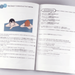 オンデマンド印刷と無線綴じ製本で作成した小冊子(英会話用の学習テキスト)の作成事例で、カラーとモノクロのページを分けて印刷できることがわかる画像です。