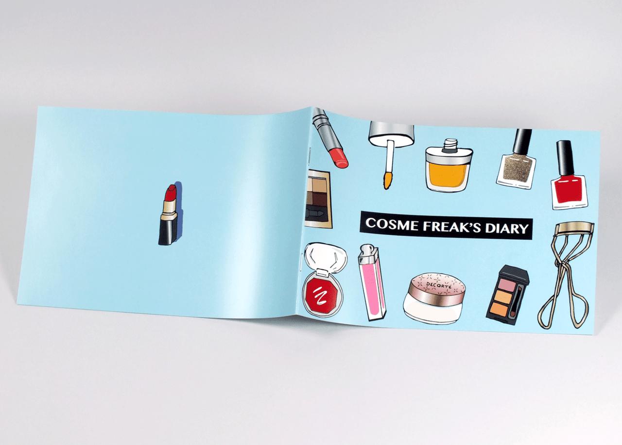 オンデマンド印刷と中綴じ製本で作成した小冊子(ZINE)の作成事例で、表紙と裏表紙のデザインがわかる画像です。