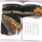オンデマンド印刷と無線綴じ製本で作成した小冊子(絵本・伝記)を開いた本文の見開きデザインがわかる画像です。