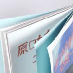 オンデマンド印刷と無線綴じ製本で作成した小冊子(絵本・伝記)に色上質紙を使い見返し加工を施した作成例の拡大画像です。